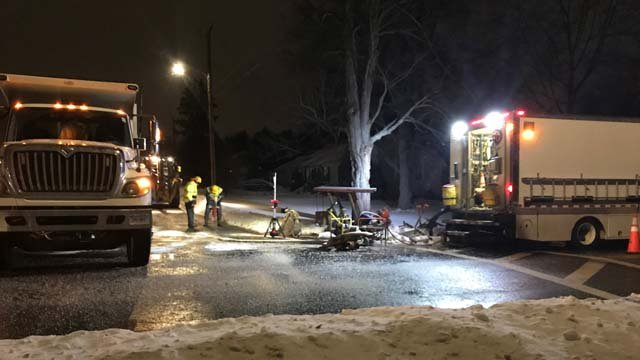 Crews are working to repair a water main break in Rocky Hill  (WFSB)