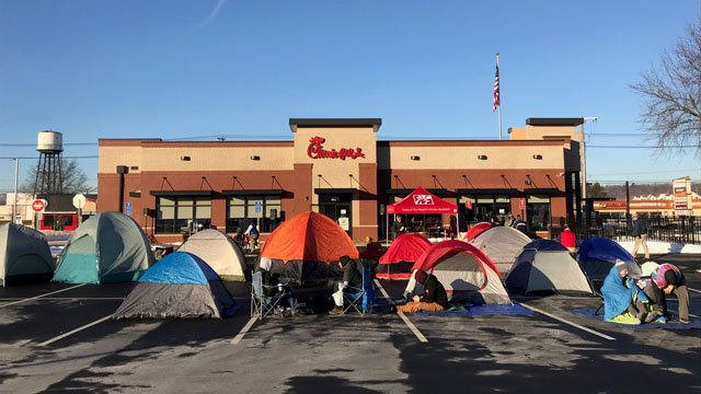 Campers set themselves up outside of a new Chick-fil-A restaurant in Southington in hopes of getting free meals for a year. (WFSB)