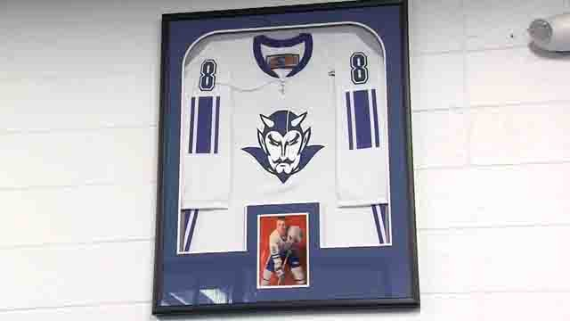 The jersey Rob Fumigalli wore was retired on Wednesday night (WFSB)