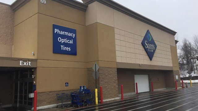 The Sam's Club in Manchester posted signs on Thursday that told customers the location will close later in the month. (WFSB)