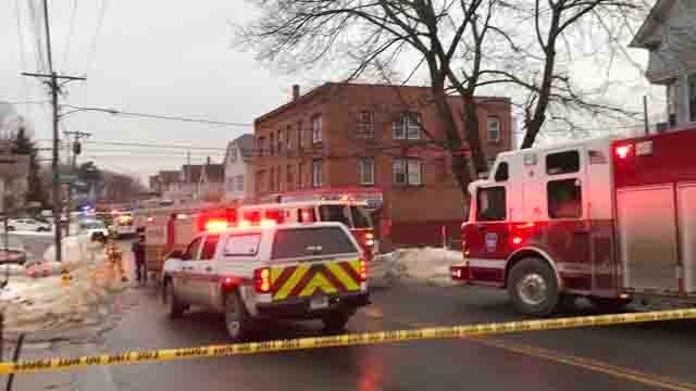 Emergency crews responded to a gas main leak in Waterbury (WFSB)