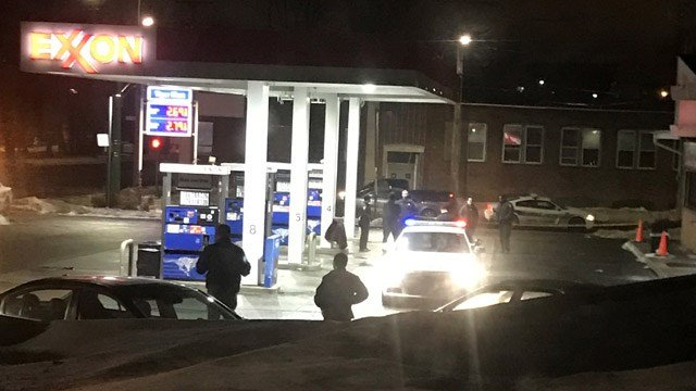 A crime scene was taped off at an Exxon gas station near Whalley Avenue and Fitch Street in New Haven on Friday morning. (WFSB)