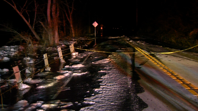 Route 7 in Kent is flooded as water from a nearby ice jam in the Housatonic River is impeding the river's flow. (WFSB)