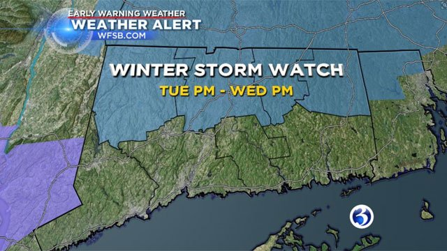 All of Northern Connecticut is now under a Winter Storm Watch from Tuesday afternoon through Wednesday afternoon.(WFSB)