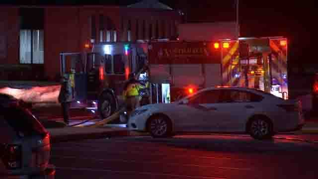 Crews battled a fire at a company in North Haven on Monday (WFSB)