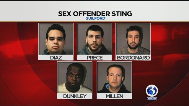 Five men were arrested in a Guilford sex sting (WFSB/ Guilford Police Department)