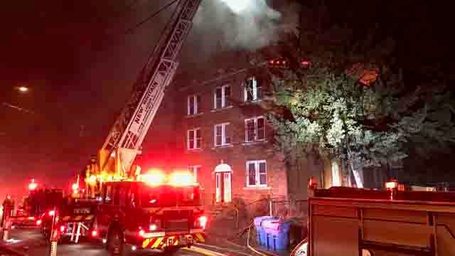 Crews battled a fire in New Britain on Tuesday night (WFSB)