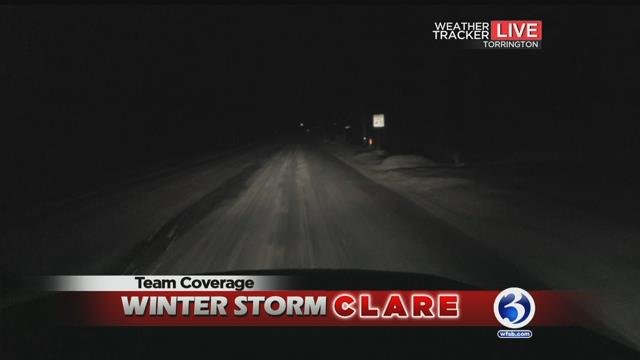 The Early Warning Weather Tracker reported slick roads in Torrington on Wednesday morning. (WFSB)