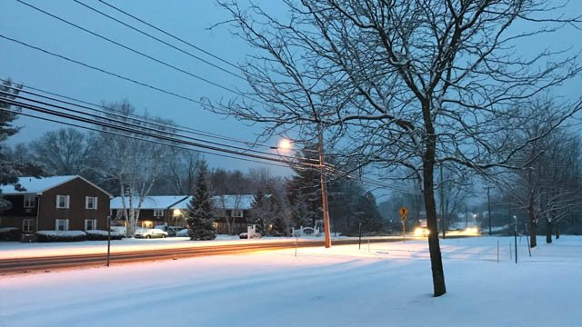 Snowy conditions were reported in Suffield on Wednesday morning. (WFSB)