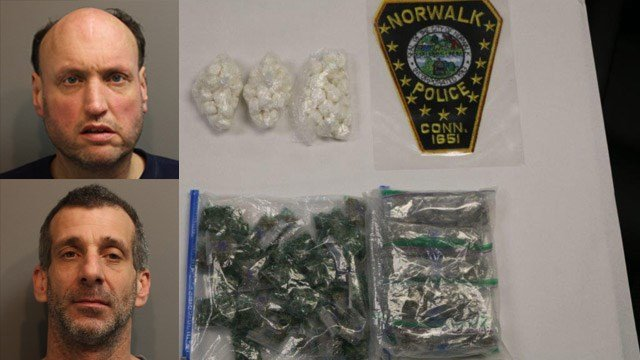 Christopher Macdow and Scott Kostrna face charges for operating a drug factory in Norwalk. (Norwalk police)