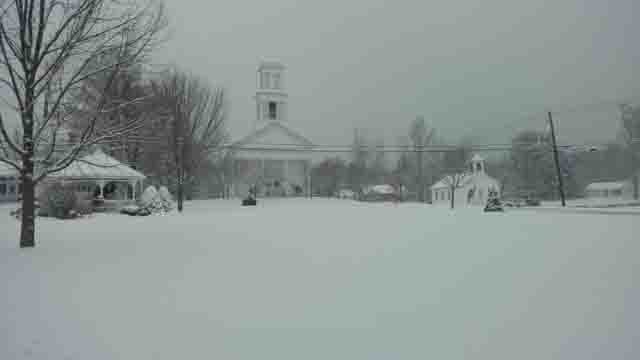 Snow blanketed Winchester Center on Wednesday (Joe and Sue)