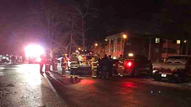 Crews battled a fire at an apartment building in Willington on Wednesday night (WFSB)