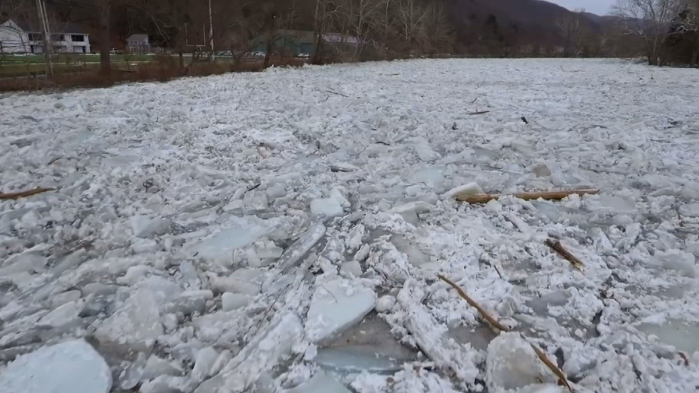 Drone 3 scoped out the ice jam earlier this week. (WFSB)