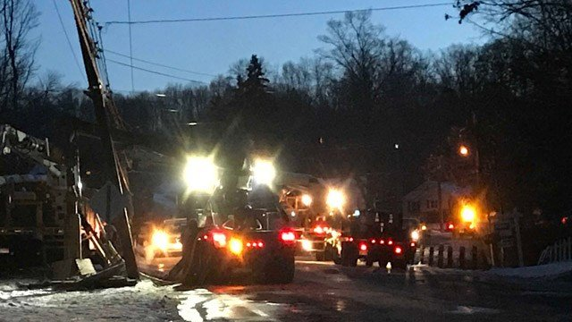 A portion of Route 68 in Naugatuck is closed on Thursday while crews repair utility poles that were taken out in a crash on Wednesday. (WFSB)