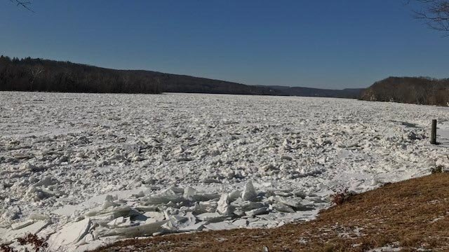 The ice jam as seen in Haddam Neck. (Neal Perron/iWitness)