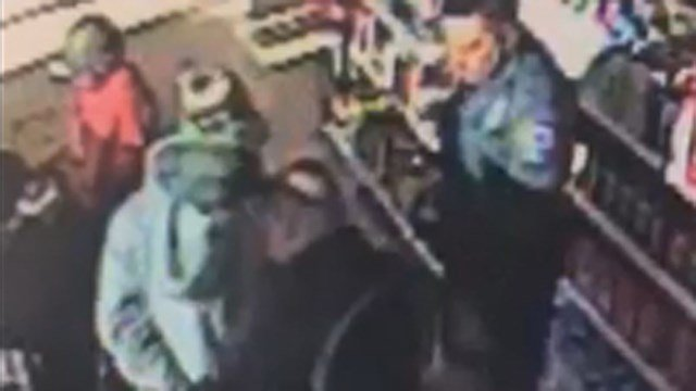 A Chevron Gas Station in Canton, GA released surveillance video of fugitive Jerry Mercado's arrest. (Chevron)