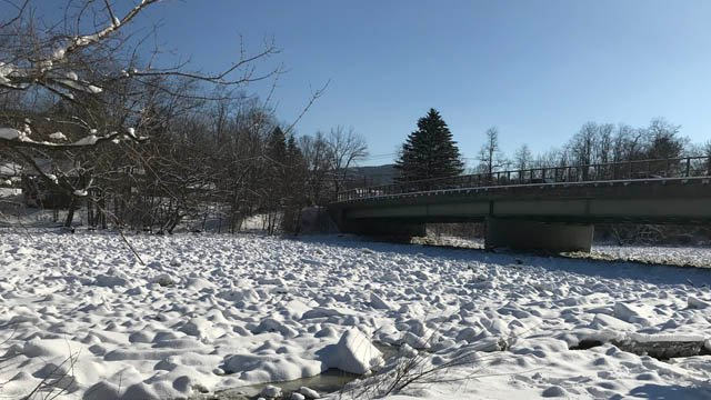 An ice jam in Kent, as it stood on Thursday. (WFSB)