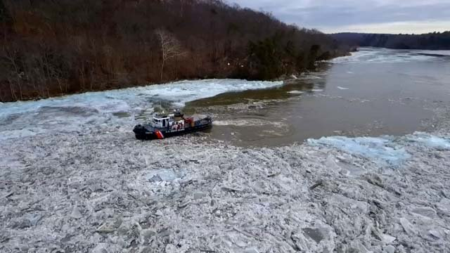 The Coast Guard has been working to cut up the ice along the CT River (WFSB)