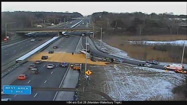 Cattle corn spilled onto I-84 in Southington on Friday afternoon. (WFSB)