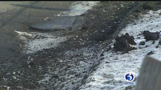 Potholes are popping up throughout Connecticut including this one in Windsor. (WFSB)