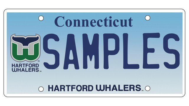 A look at the new Hartford Whaler's license plate. (DMV)