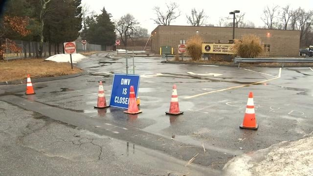 The Department of Motor Vehicles in Old Saybrook was closed on Tuesday because of a propane leak.  (WFSB)