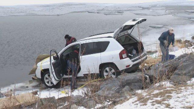 A car full of people from Connecticut drove onto frozen Lake Champlain in VT and fell through the ice. (WCAX/CNN)