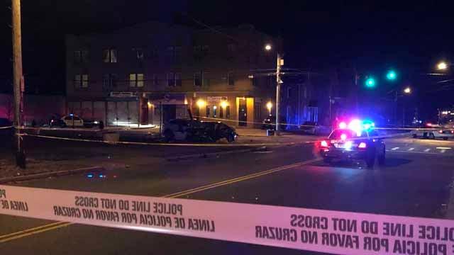 A woman was killed in a crash in Hartford on Thursday night (WFSB)