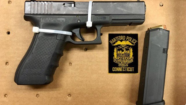 Police said the convicted felon arrested for the deadly crash had a .40 caliber gun and drugs on him. (Hartford police)