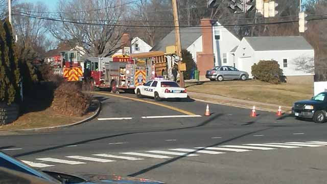 A school bus crashed into a home in Meriden (Brian Ritchie)