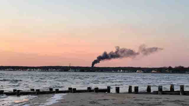 Channel 3's Nicole Nalepa said the smoke could be seen from Old Saybrook (WFSB)