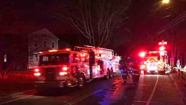 Crews were battling a house fire in Westbrook on Friday. (WFSB)