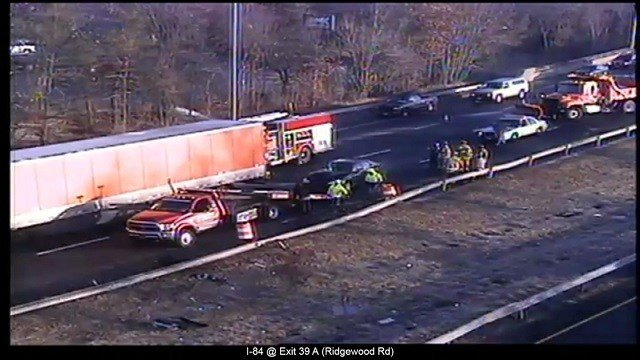 A car crash on I-84W in Farmington has closed the left two lanes. (Connecticut Department of Transportation)