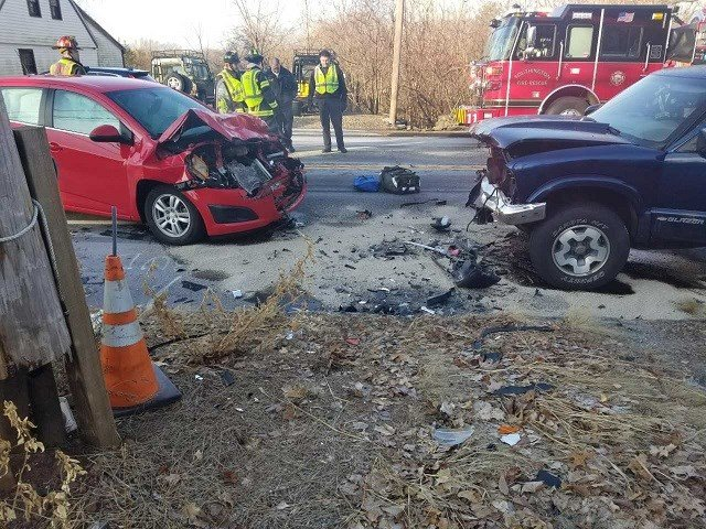 Icy roads in Southington caused two motor vehicle crashes within minutes of each other. (WFSB)