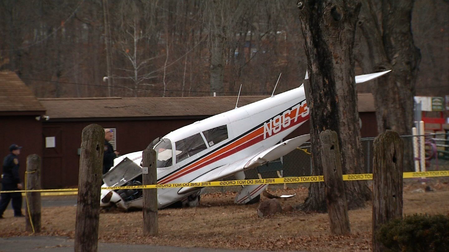 A plane with two people on board crashed near Hanover Road in Meriden on Saturday. (WFSB)