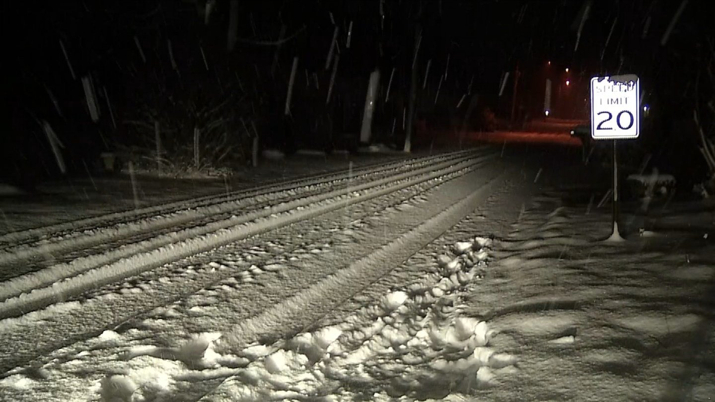 Snow accumulated on Old Saybrook roads overnight. (WFSB)