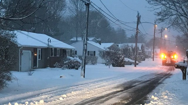 A plow truck headed down Middletown Avenue in Old Saybrook, were as much as 6 inches of snow may fall from Tuesday's storm. (WFSB)