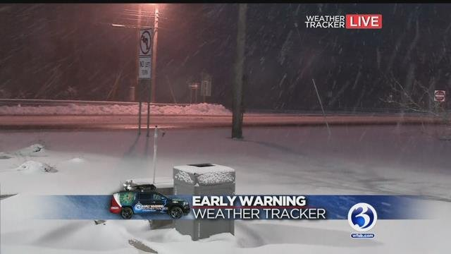 The Early Warning Weather Tracker reported slick conditions in Westbrook on Tuesday. (WFSB)