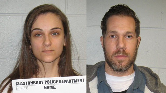 Melissa Hafey and Daniel Taylor are accused of picking burglary targets off of social media. (Glastonbury police)