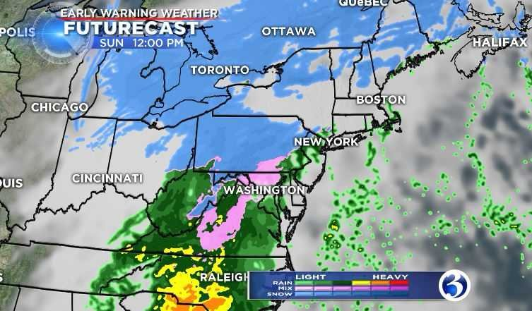 A mix of wintry weather is expected in parts of the state on Sunday, mainly during the afternoon, said Meteorologist Mike Cameron. (WFSB)