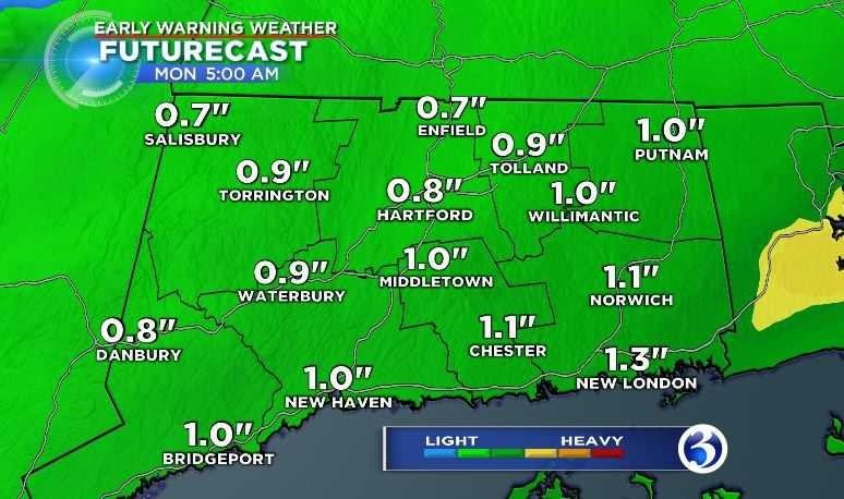 "Rainfall totals across the state will range from 0.5""-1.0"" (WFSB)"