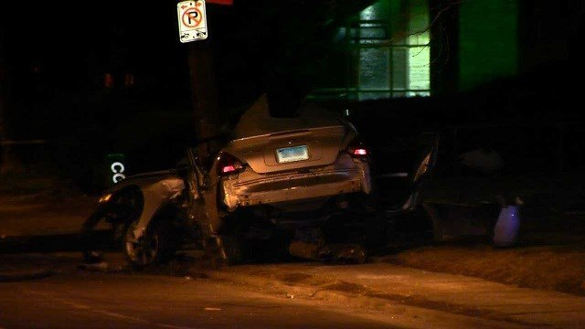 A 26-year-old woman was identified in a fatal car crash involving a light pole on Saturday evening. (WFSB)