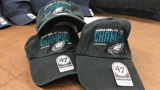 GimaSport in Hartford said it will produce about 4,000 Eagles hats on Monday. (WFSB)