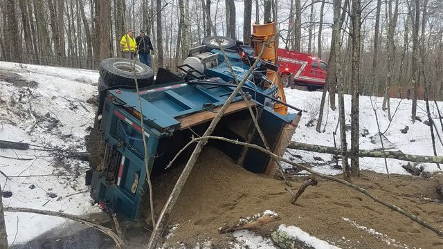 A plow truck driver was taken to hospital after this crash on Monday morning.? @NorfolkPIO1