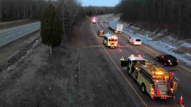 A serious crash on Route 2 in Colchester caused delays in the area on Monday (WFSB)