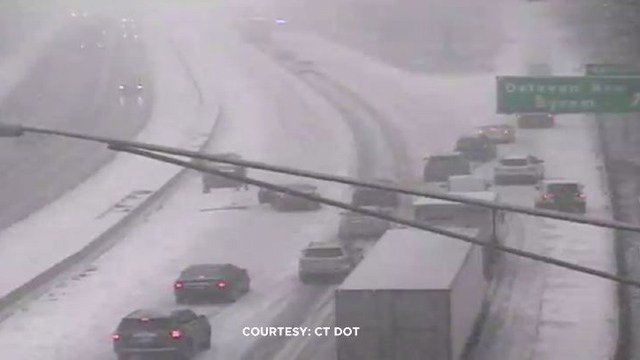 A crash was reported due to slick conditions along I-95 south in Greenwich on Wednesday morning. (DOT)