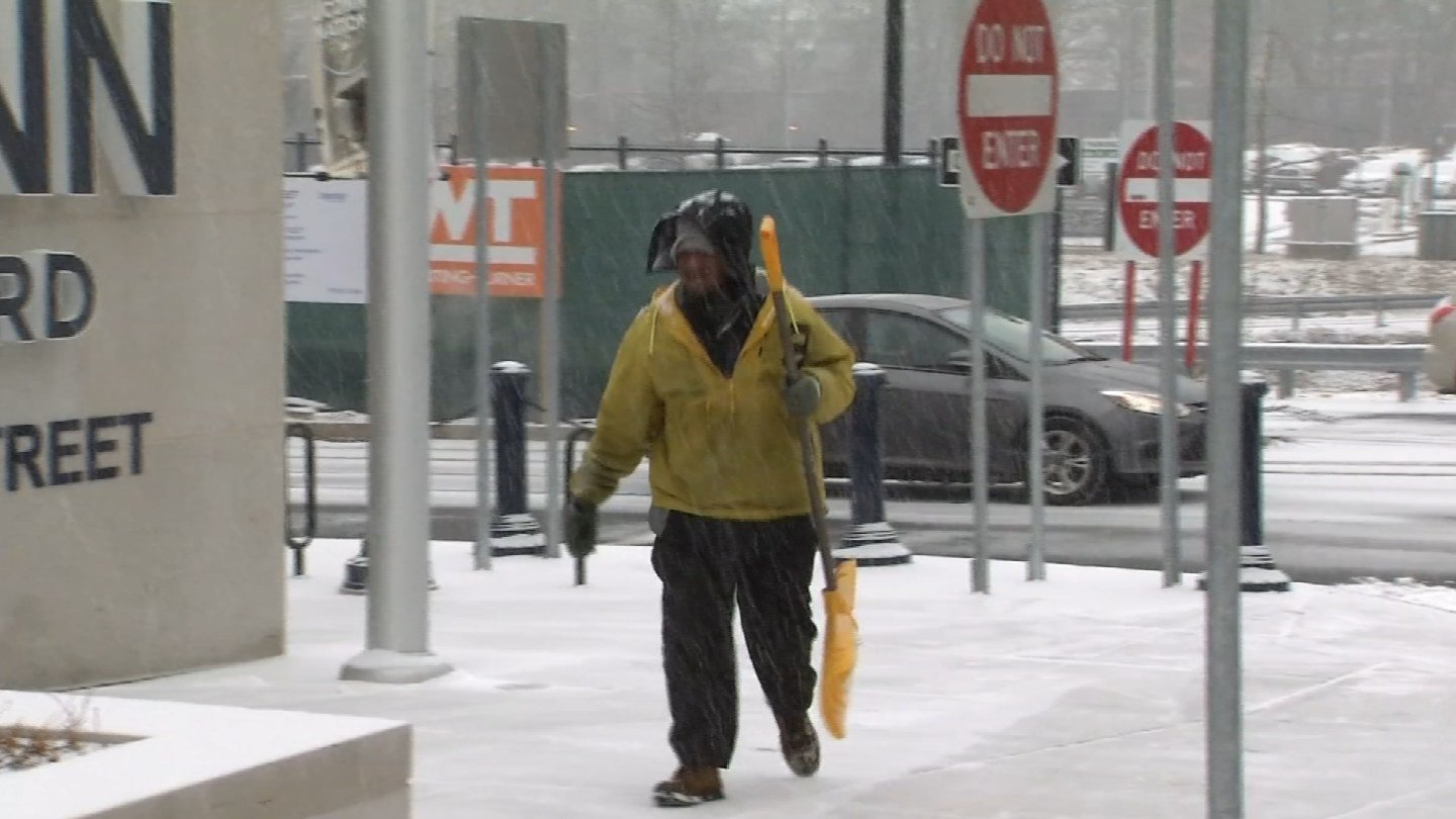 Crews expected to keep clearing sidewalks and roads in Hartford all day on Wednesday. (WFSB)