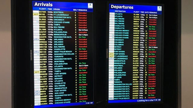 There have been cancellations to 30 percent of their arriving and departing flights.  (WFSB)