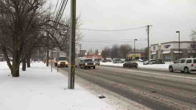 Snow and freezing rain made for slippery conditions in Enfield on Wednesday (WFSB)