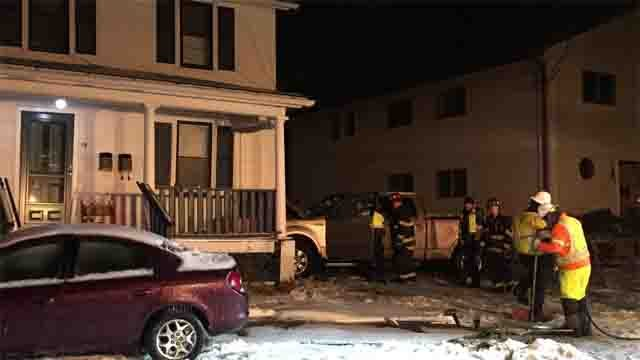 A truck slammed into a house in Enfield on Wednesday evening (WFSB)